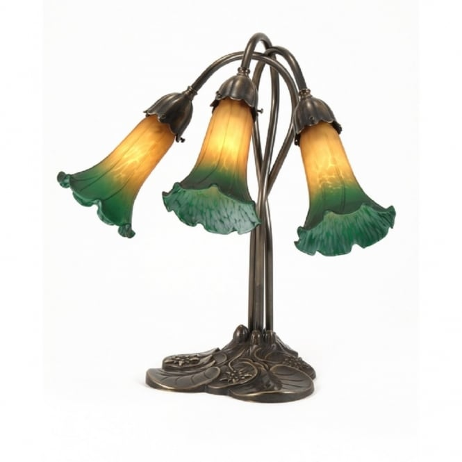 Delightful LILY Art Nouveau Style Aged Brass Table Lamp, Green Amber Shades