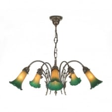 LILY Victorian Art Nouveau style chandelier with amber green shades