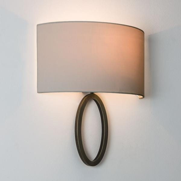 Contemporary flush wall light in bronze with shade dimmable lima contemporary flush ring wall light with shade bronze mozeypictures Images