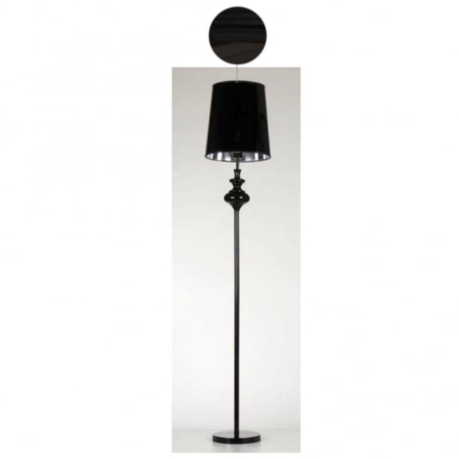 Contemporary Black Floor Lamp With Black Glossy Shade