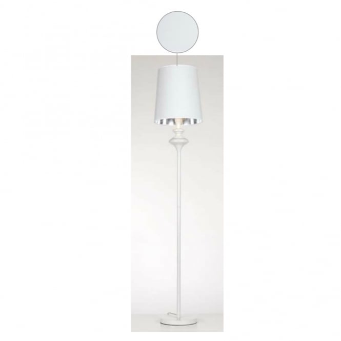 Contemporary white floor lamp with white glossy shade for Modern white floor lamp uk