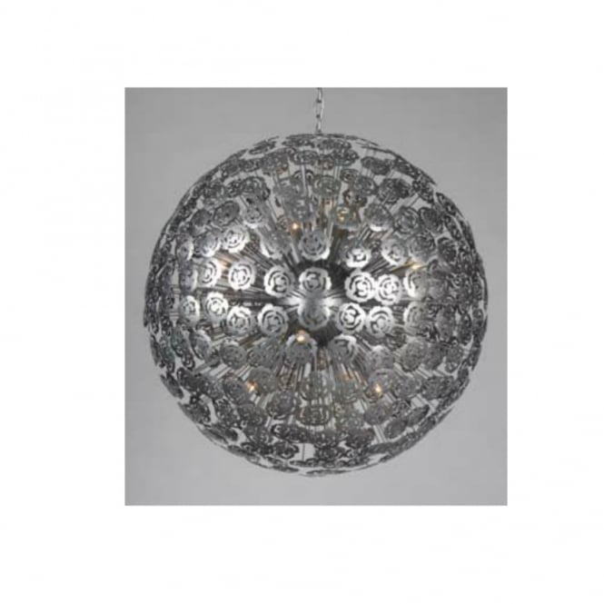 Linea Verdace BACCARA brushed silver floral globe ceiling pendant