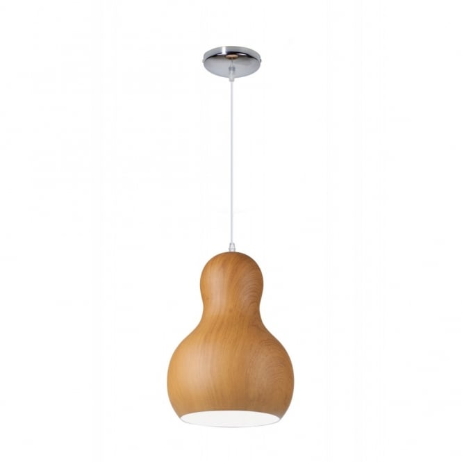 Linea Verdace BARBAPAPA contemporary bobbled single wooden ceiling pendant (dark wood - medium)
