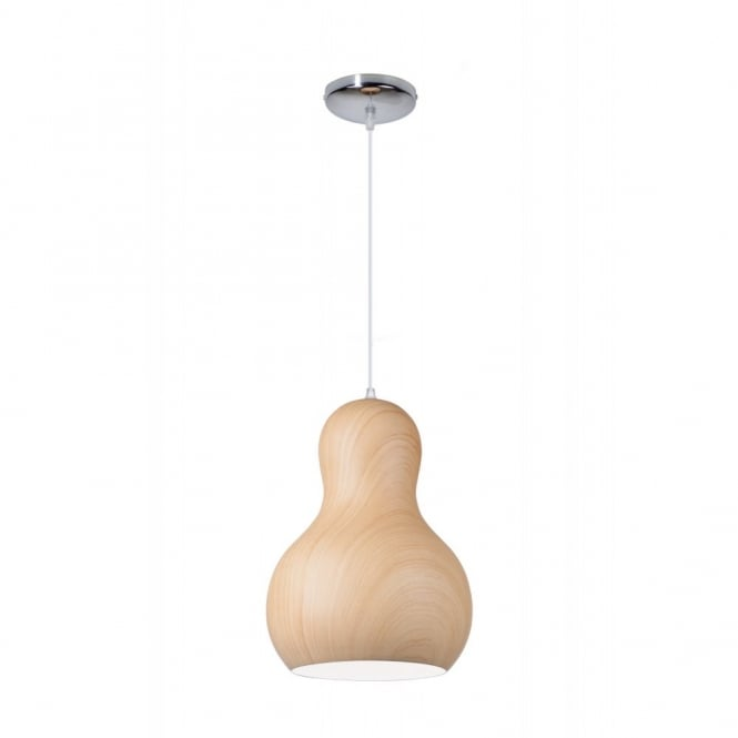 Linea Verdace BARBAPAPA contemporary bobbled single wooden ceiling pendant (light wood - medium)