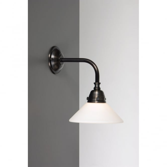 traditional antique brass wall light with white opal glass shade