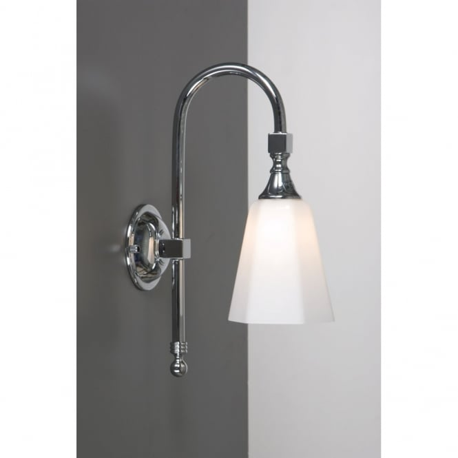 Traditional Bathroom Wall Light, Chrome with Swan Neck Arm, IP44