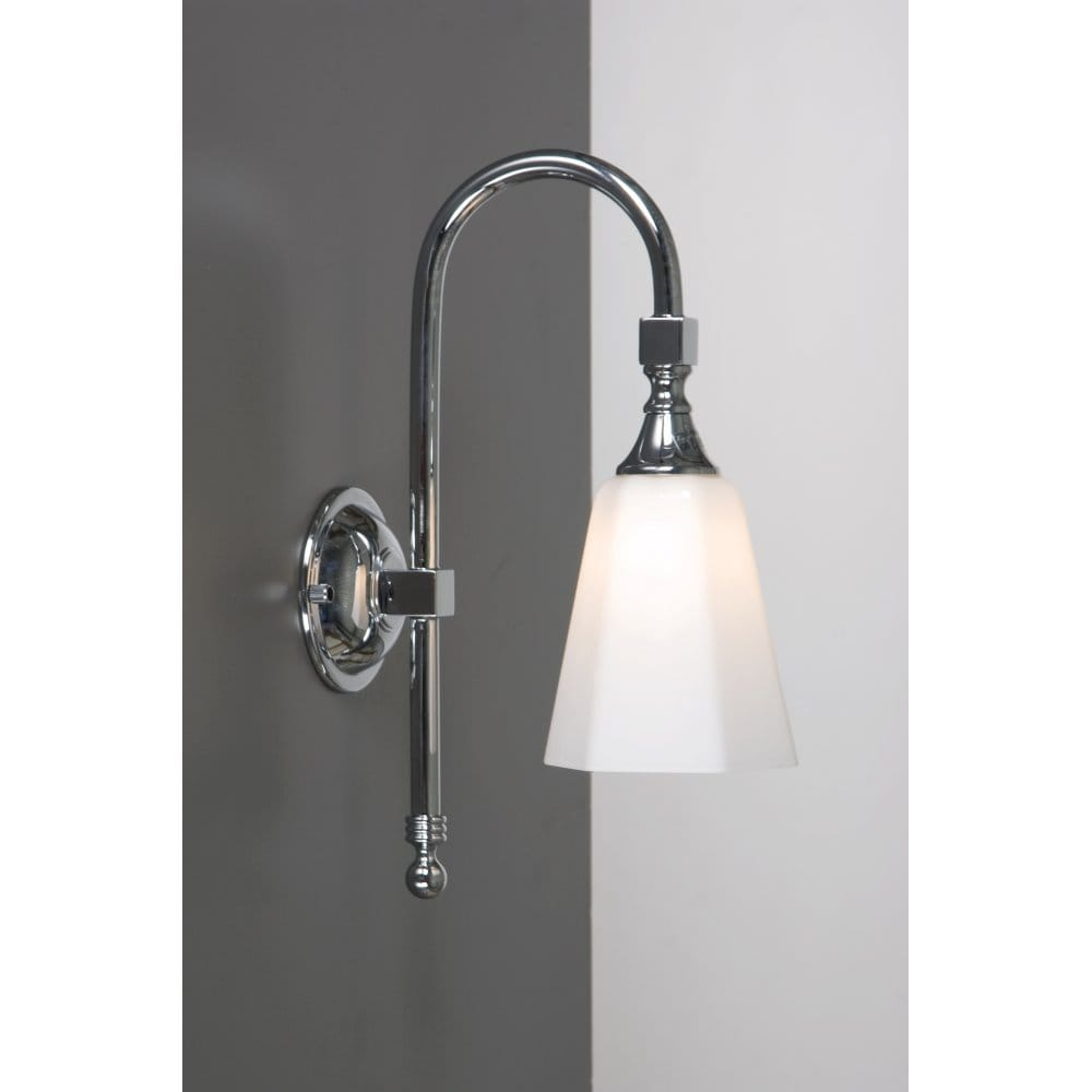 Traditional Bathroom Wall Lamps : Traditional Bathroom Wall Light, Chrome with Swan Neck Arm, IP44