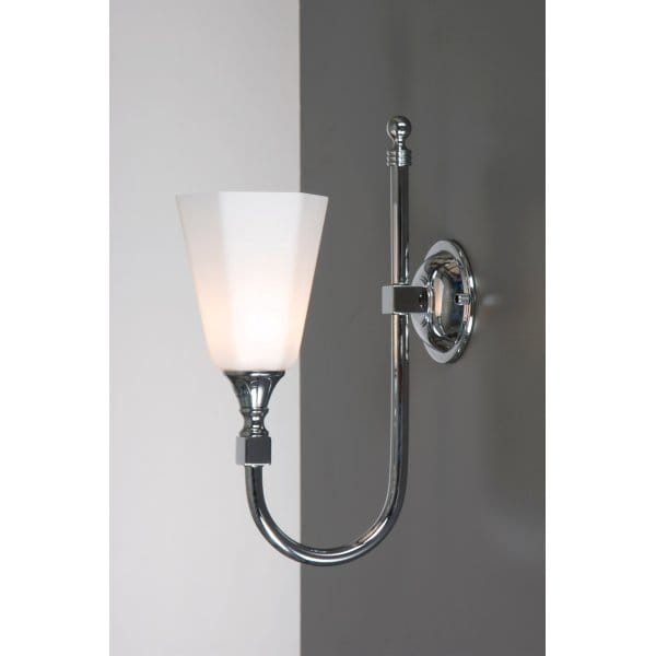 Traditional bathroom wall light chrome with swan neck arm for Traditional bathroom wall lights