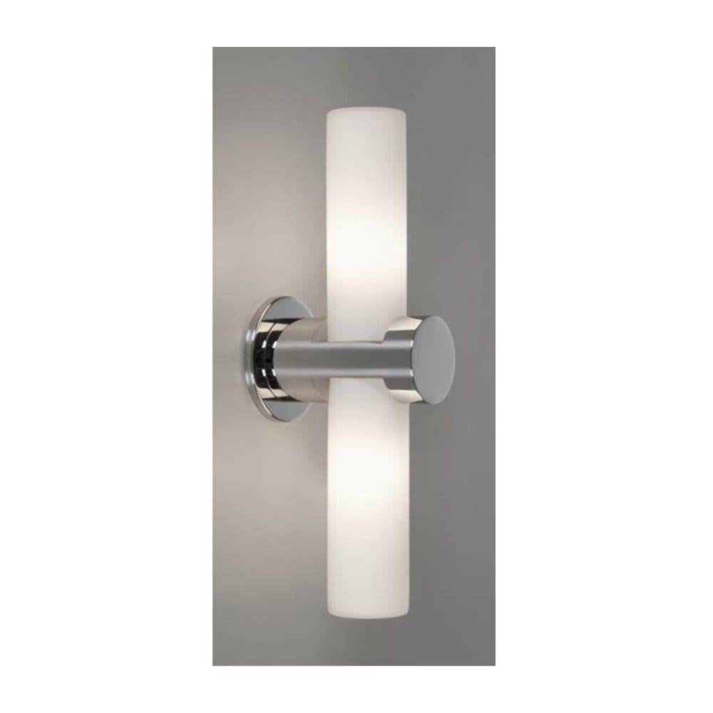 Modern Chrome Bathroom Double Wall Light, IP44. Contemporary Lighting.