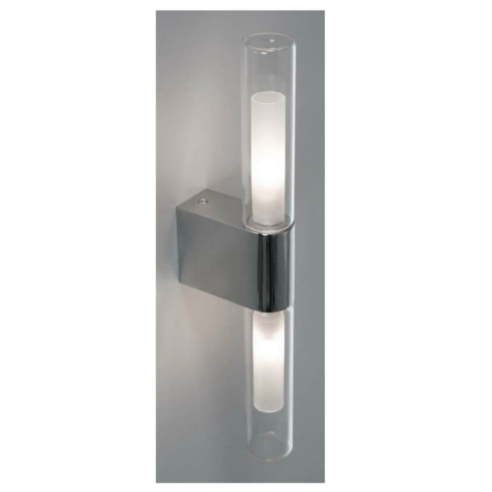 Modern Bathroom Double Wall Light In Chrome Ip44 Rated