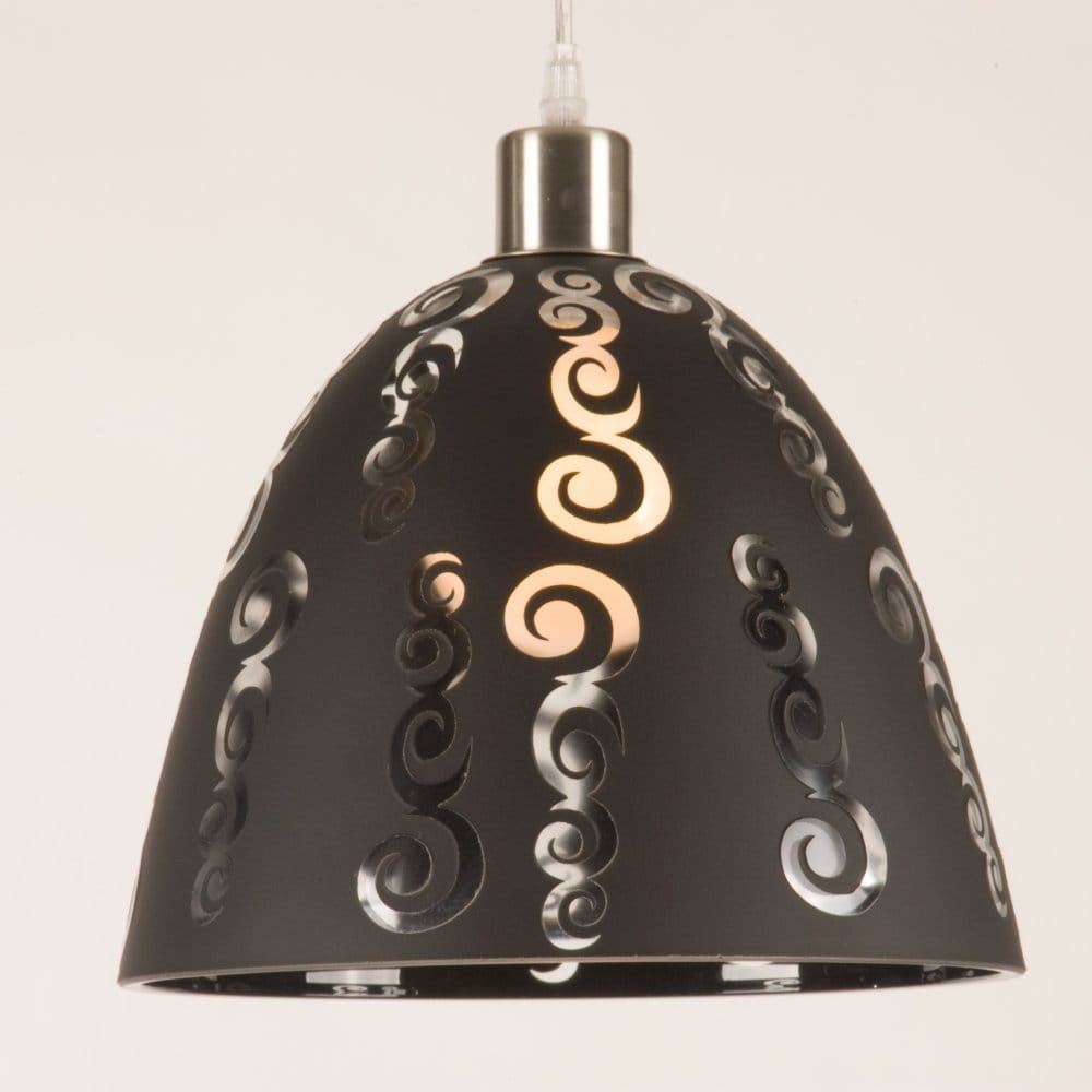 dramatic black glass pendant shade with transparent cut