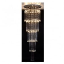 CAVEMAN chrome & clear glass bead long drop ceiling light