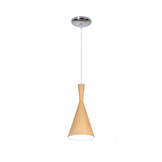 Linea Verdace CLESSIDRA contemporary tapered single wooden ceiling pendant (light wood)