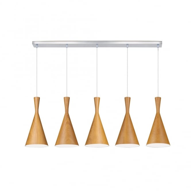 Linea Verdace CLESSIDRA contemporary tapered wooden ceiling pendant bar (dark wood)