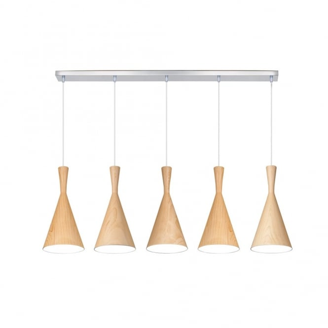 Linea Verdace CLESSIDRA contemporary tapered wooden ceiling pendant bar (light wood)