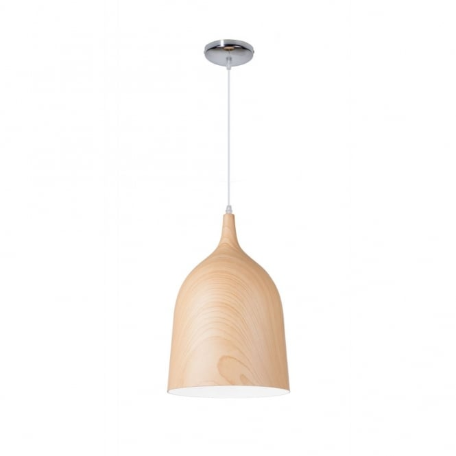 CLOCHE contemporary single ceiling pendant in light wooden finish