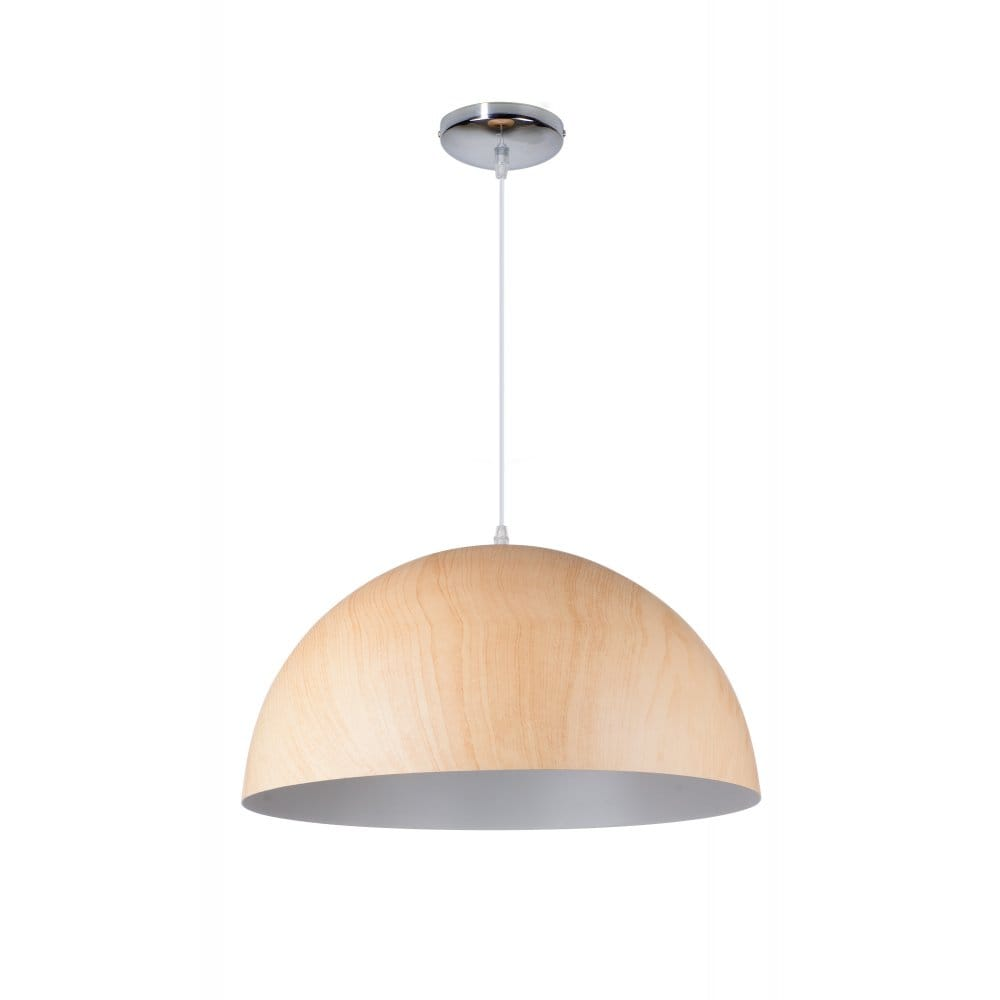 Contemporary wooden dome shade ceiling pendant great for Ceiling lamp wood