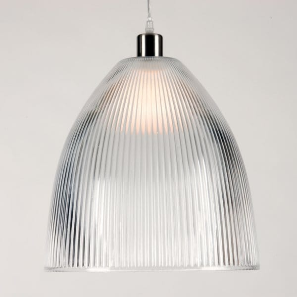 Clear Ribbed Glass Ceiling Pendant Light Shade Made In Belgium
