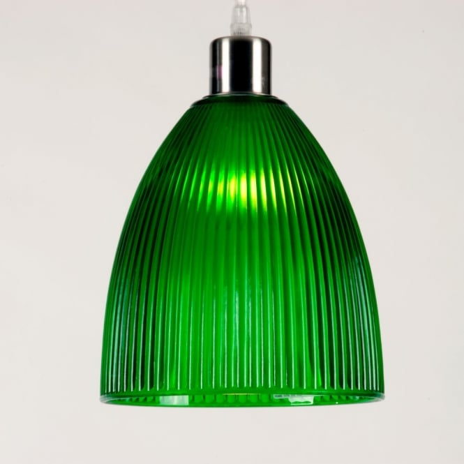 Linea Verdace DIVA small green ribbed glass pendant light shade (part of a set)