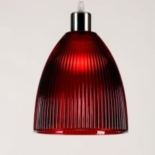DIVA small red ribbed glass pendant light shade (part of a set)