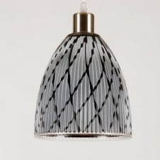DIVA small white/black ribbed glass pendant light shade (part of a set)