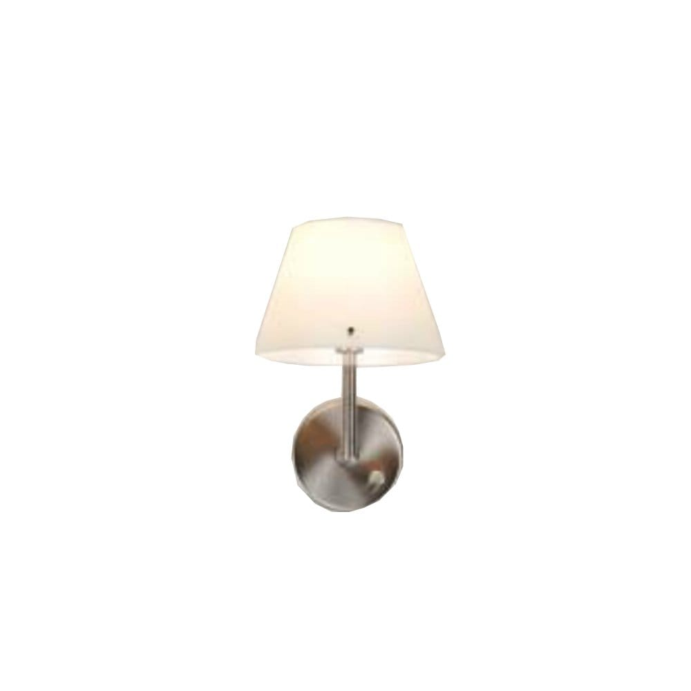Nickel Satin Wall Light with Dimmer Switch and White Glass Shade