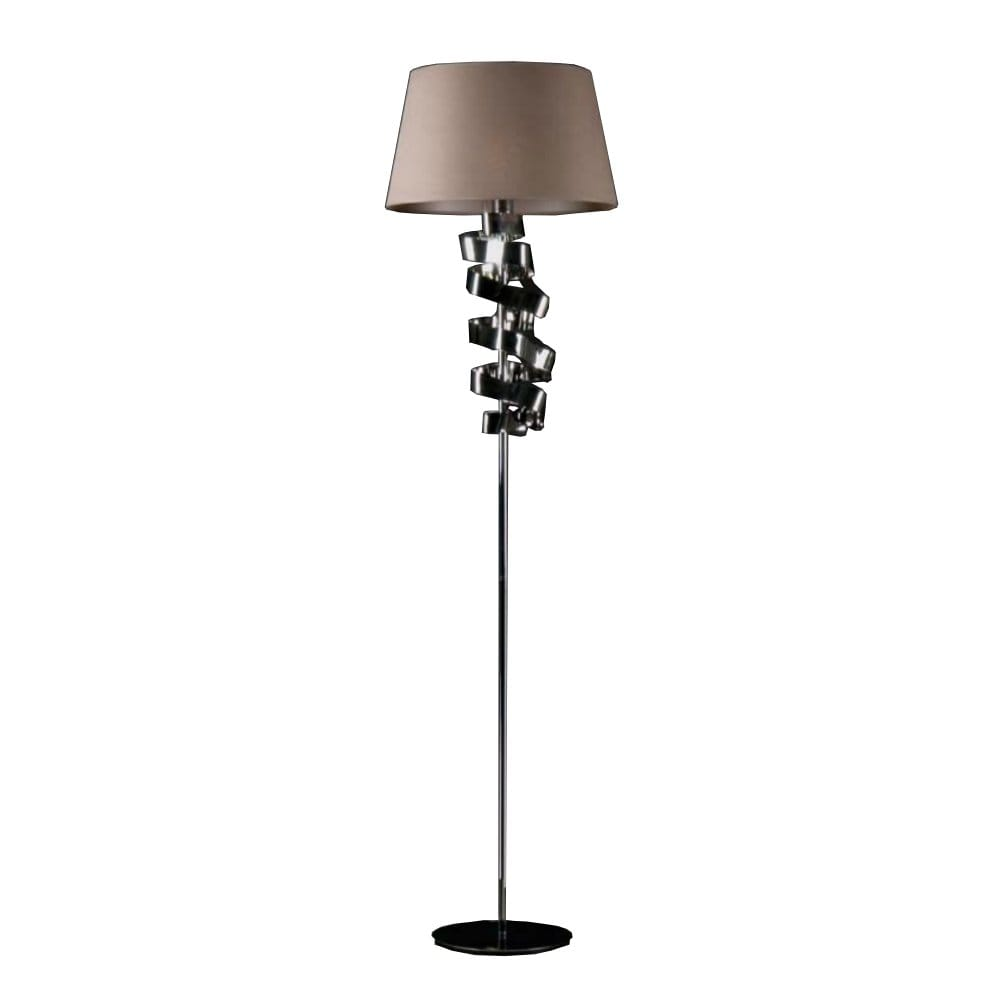 Modern Chrome Ribbon Design Floor Lamp with Taupe Cotton Shade