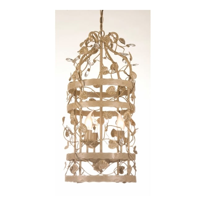 Linea Verdace MICHELANGELO CAGE decorative ceiling pendant with leaf detail (small - beige/gold)