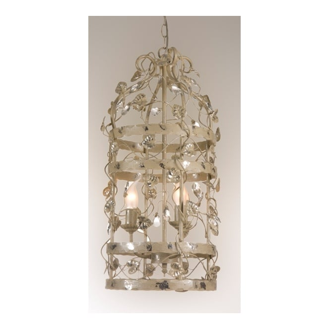 Linea Verdace MICHELANGELO CAGE decorative ceiling pendant with leaf detail (small - cream/silver)