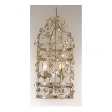 MICHELANGELO CAGE decorative ceiling pendant with leaf detail (small - cream/silver)