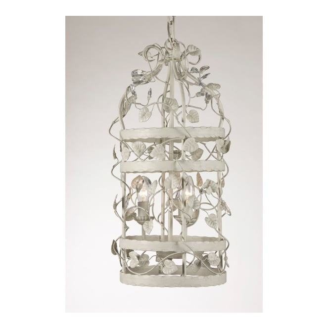 Linea Verdace MICHELANGELO CAGE decorative ceiling pendant with leaf detail (small - grey beige)