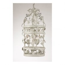 MICHELANGELO CAGE decorative ceiling pendant with leaf detail (small - grey beige)