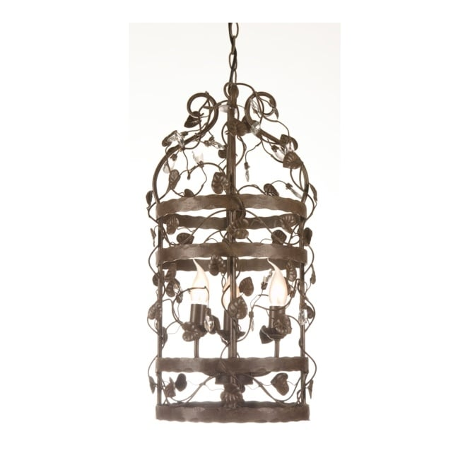 Linea Verdace MICHELANGELO CAGE decorative ceiling pendant with leaf detail (small - rusty)