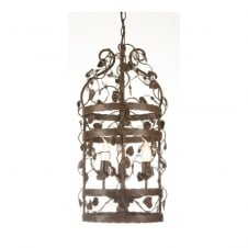 MICHELANGELO CAGE decorative ceiling pendant with leaf detail (small - rusty)