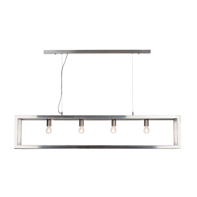 Linea Verdace OPEN contemporary polished chrome 4 light ceiling bar pendant