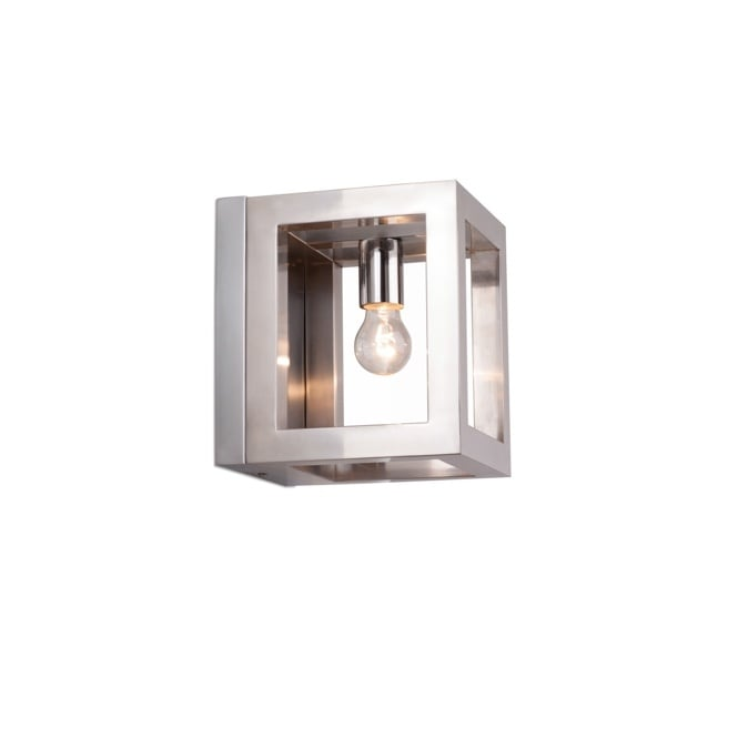 Linea Verdace OPEN contemporary polished chrome box wall light