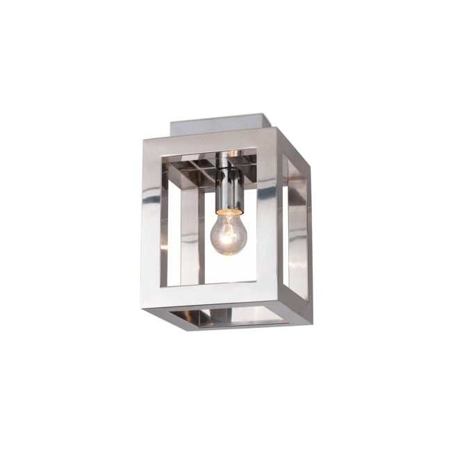 OPEN contemporary polished chrome semi flush box ceiling light in polished chrome