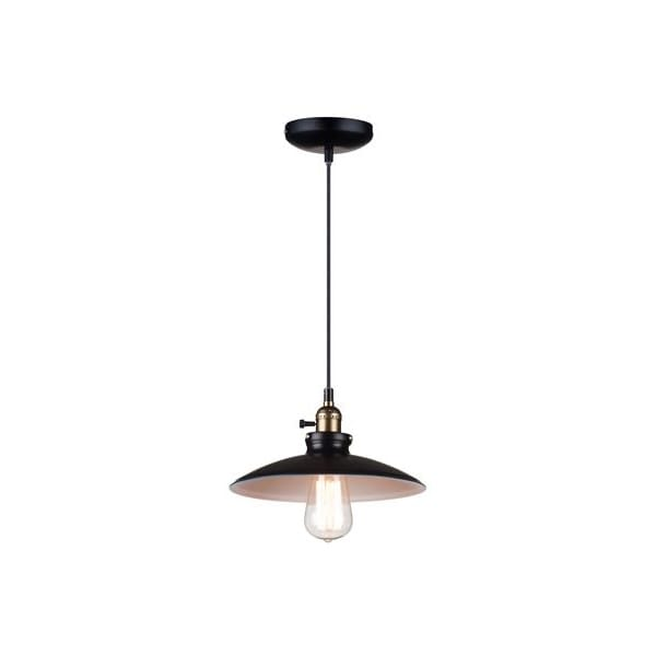 Ceiling lights black and white : Retro ceiling pendant in black with white inner great
