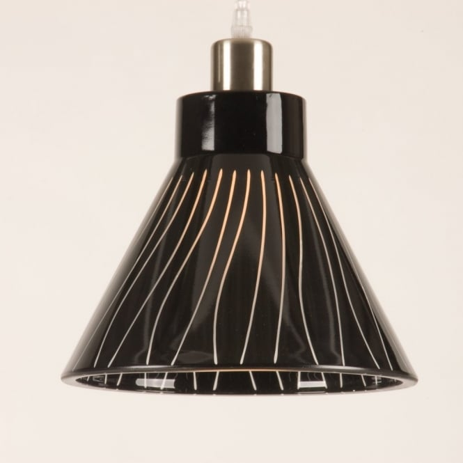 Dramatic Black Glass Ceiling Pendant Light Shade For