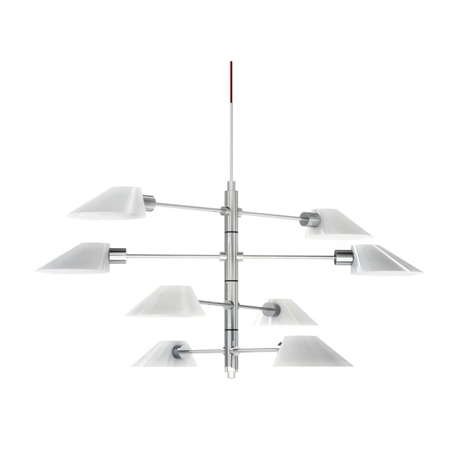 SOEUR SOURIRE 8 light ceiling pendant in white and chrome finish