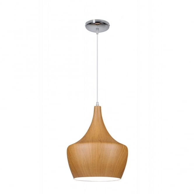 TIPI contemporary tipped single wooden ceiling pendant (dark wood - medium)