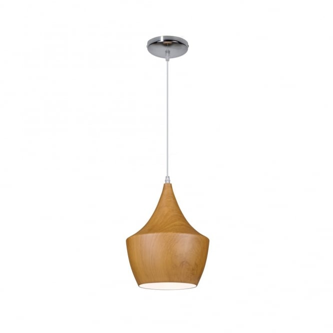Linea Verdace TIPI contemporary tipped single wooden ceiling pendant (dark wood - small)