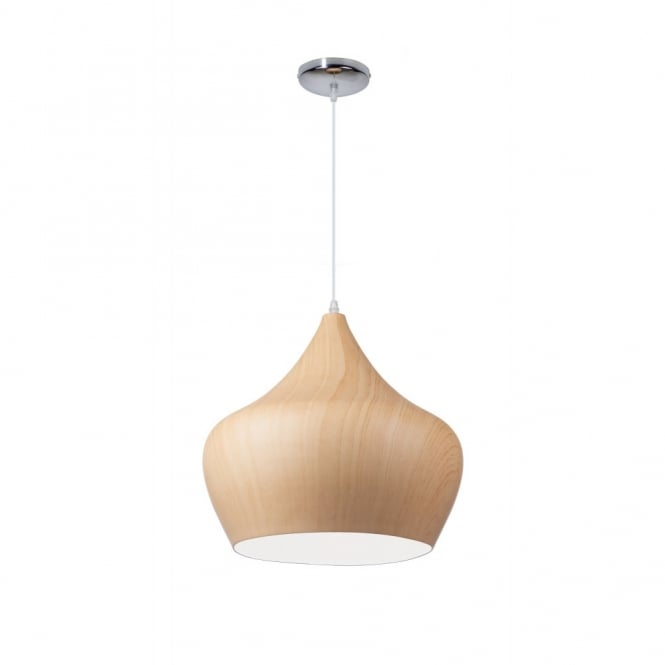 Linea Verdace TIPI contemporary tipped single wooden ceiling pendant (light wood - large)