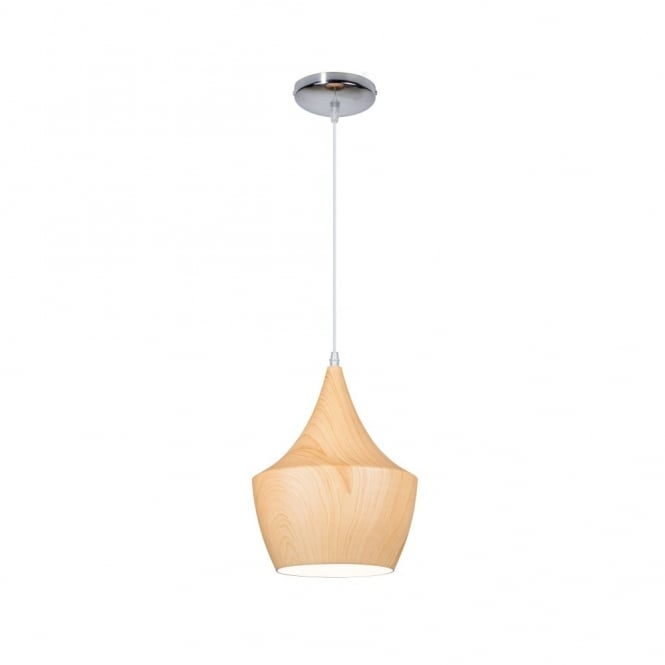 Linea Verdace TIPI contemporary tipped single wooden ceiling pendant (light wood - small)