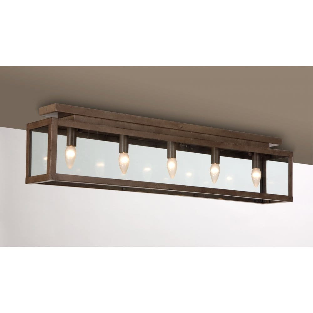 Long Low Ceiling Light Fitting, Rusty Metal Finish, Ideal