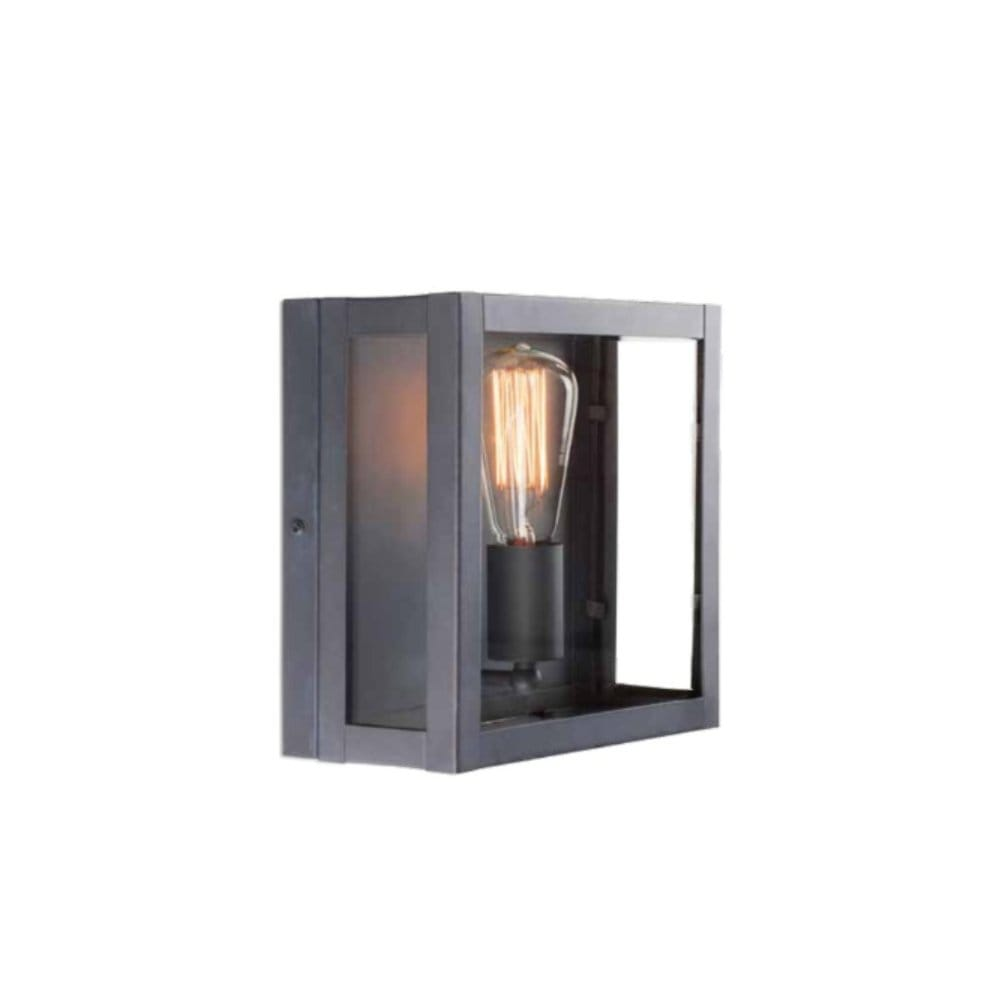Glass Box Wall Lights : Rustic Lead Finished Box Wall Light Suitable for Traditional Settings