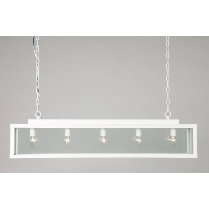 Linea Verdace ZENIA traditional long white painted metal ceiling pendant light