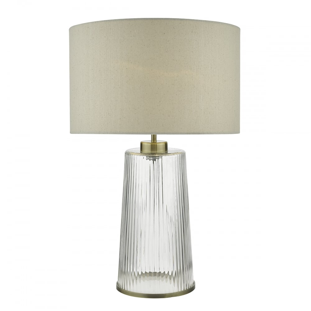 Lira clear ripple glass table lamp with antique brass detail and shade clear ribbed glass and brass table lamp with shade aloadofball Gallery