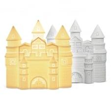 ceramic castle table lamp with cut out pattern