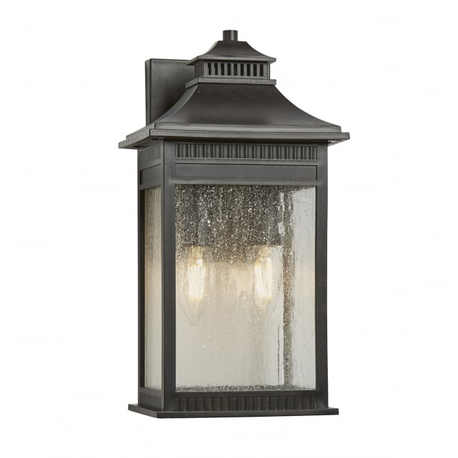 LIVINGSTON classic exterior wall lantern in imperial bronze with seeded glass (medium)